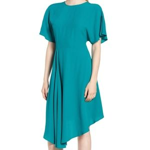 Lewit Asymmetrical Slit Sleeve Crepe Dress